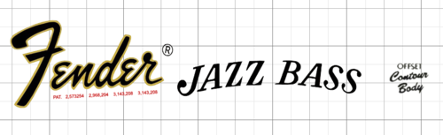 70s Fender Jazz Bass Logo WaterSlide Sticker