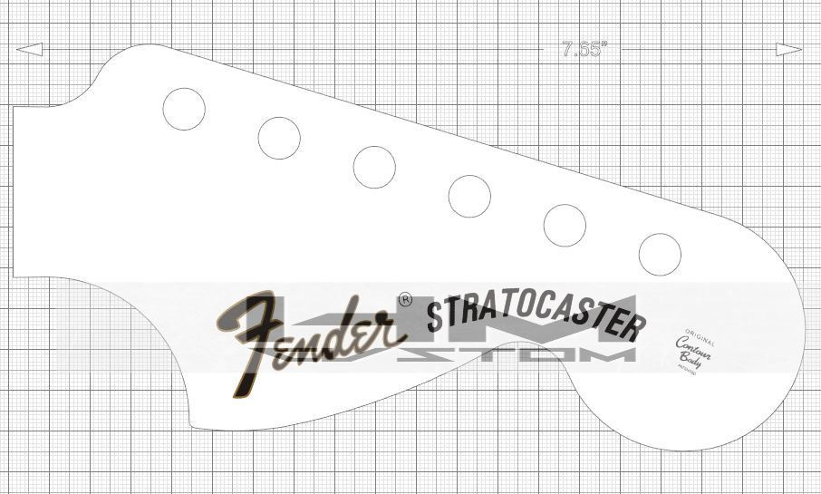 1970 fender stratocaster headstock logo decal hmcustom for Stratocaster headstock template