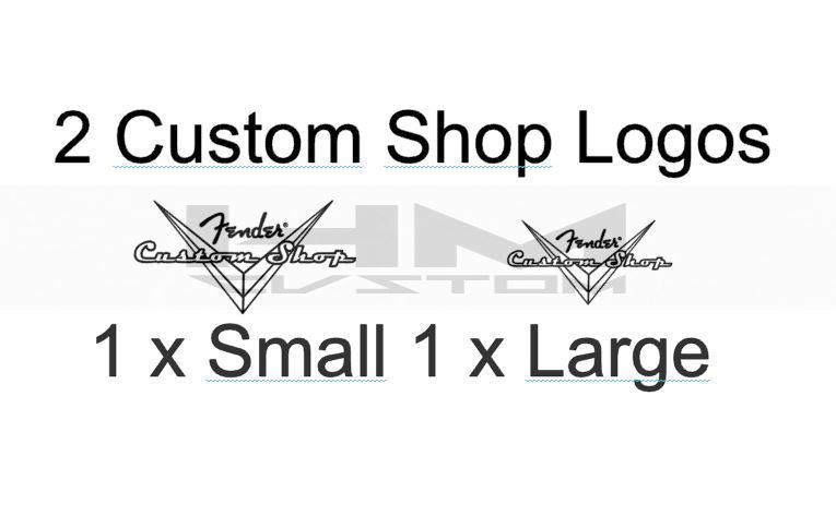 2 x fender black solid headstock custom shop waterslide