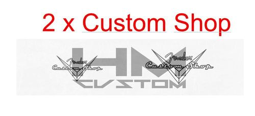 2 x Clear and Black Lines Custom Shop Waterslide Logo Decal ( 1xS 1xL )