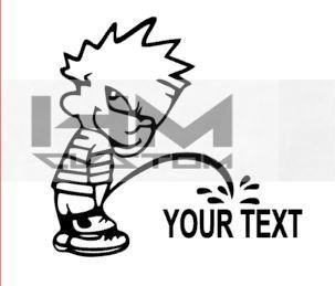 Custom text Pee Boy Vinil Sticker