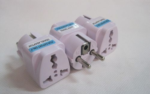 UK US AU to EU European Power Socket Plug Adapter