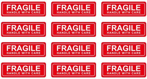 12 x 76 mm Fragil Waterproof Label Stickers