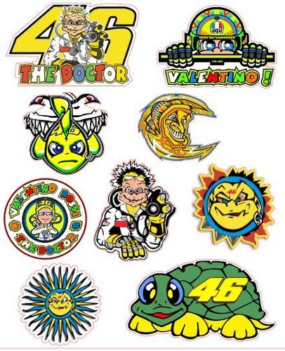 Sheet A4 Mix Stickers Valentino Rossi 50mm