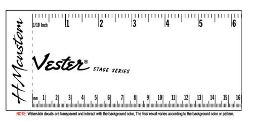 Vester Stage Series Guitar Headstock Waterslide Logo Decal